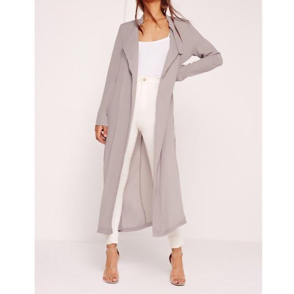 5e52327331 Missguided Jackets & Coats | Grey Chiffon Maxi Duster Coat | Poshmark